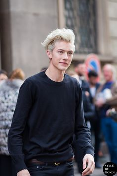 Lucky Blue Smith, at the Milan Men's Fashion Week A/W 2015 shows.