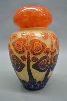Rare Charles Schneider Le Verre Francais cameo vase in bulbus form, decorated in yellow, orange &