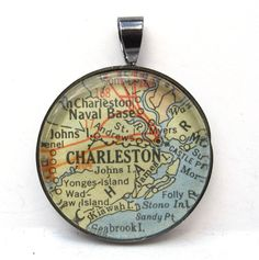 Vintage Map Pendant of Charleston, South Carolina, in Glass Tile Circle