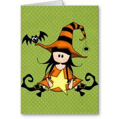 Custom Witch Halloween Greeting Card