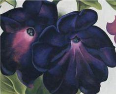 Georgia-O-Keeffe Black-and-Purple-Petunias