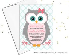 Owl baby shower Invitations for girls - girl baby shower invites by willowlaneinvites WLP00784