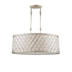 Murray Feiss F2569/3BUS 3 Light Lucia Oval Chandelier, Burnished Silver