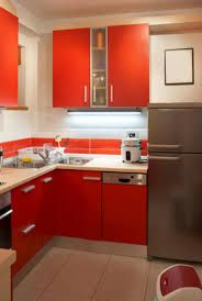 Kitchen Idea Cute Small White Design With Orange Cabinet Large Chrome Refrigerator And Kettle On Countertops Wonderful
