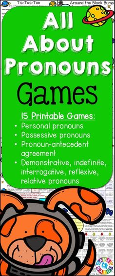Looking for fun ways to practice pronouns? This Pronouns Games packet contains 15 fun and engaging printable board games to help students to practice personal pronouns, possessive pronouns, demonstrative pronouns, indefinite pronouns, interrogative pronouns, reflexive pronouns, relative pronouns, and pronoun-antecedent agreement!