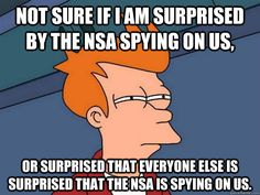 This one is so timely. I love the memes of Fry looking like this because it opens up so many memes of skepticism. This one is perfect for all of the folks scared of the NSA stuff, when they act like it is a new thing. Privacy = sacrifice; or education.