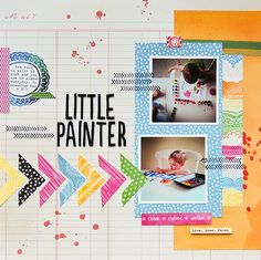 Little Painter - by Pamella Brown using the Amy Tangerine Sketchbook collection from American Crafts. #amytangerine #scrapbooking #layout