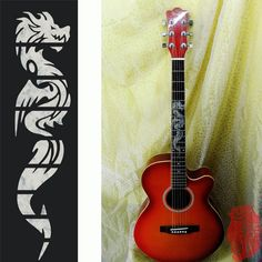 MSOR Electric Acoustic Guitar Inlay Sticker the Dragon Fretboard Markers Sticker Decal Guitarra