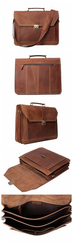 Handmade Vintage Leather Briefcase Men Messenger Bag Laptop Bag