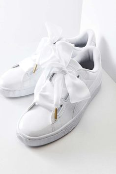 Shop Puma Basket Heart Patent Leather Sneaker at Urban Outfitters today. We carry all the latest styles, colors and brands for you to choose from right here. Puma Sneakers, Platform Sneakers, White Sneakers, Leather Sneakers, Shoes Sneakers, Leather Trainers, Pumas Shoes, Shoes Heels, Women's Shoes