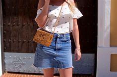 Heartfelt Hunt - Too Many Doors - White off-shoulder top, denim skirt, straw hat, sunglasses, straw bag, Birkenstock sandals and blond side braid