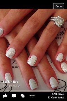 There are three kinds of fake nails which all come from the family of plastics. Acrylic nails are a liquid and powder mix. They are mixed in front of you and then they are brushed onto your nails and shaped. These nails are air dried. Wedding Manicure, Wedding Nails For Bride, Bride Nails, Manicure And Pedicure, Sparkle Wedding, Manicure Ideas, Wedding White, Nail Wedding, White Manicure