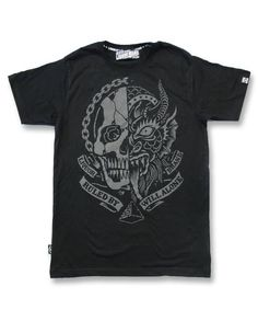 Liquor Brand Herren SKULL DEVIL T-Shirts.Tattoo,Oldschool,Custom,Biker Clothing