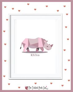 Save Our Rhinos poster by thetickledpinkfox on Etsy Cute Poster, Rhinos, Posters, Handmade Gifts, Frame, Illustration, Pink, Etsy, Vintage