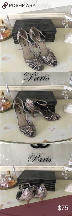 Moda Spana Demure T Strap Heel Nature snake print with  3 inch wooden heel. In excellent condition. Moda Spana Shoes Heels