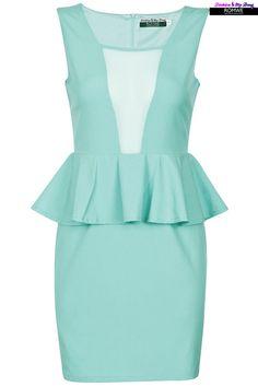 Sleeveless Mint Peplum Dress #Romwe
