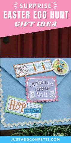 Looking for a creative Easter egg hunt to surprise your friends and neighbors? Create your own Surprise Easter Egg Hunt Gift Idea in no time with my Cottontail Express Mail printable stamps & letter! The printables are available in my Just Add Confetti Etsy shop. Attach the printables and drop-off to your family and friends. Hide plastic Easter eggs in the yard for an instant surprise Easter egg hunt! Be sure to head to justaddconfetti.com for even more Easter decorations, gift ideas and crafts.