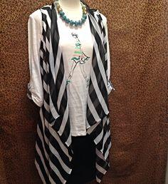 A La Carte - Black and white striped chiffon open front vest  - $98
