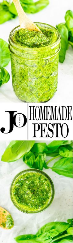 This Easy Homemade Pesto will make you say goodbye to the store bought version. A handful of ingredients is all you need for this no fail delicious pesto! Sauce Recipes, New Recipes, Favorite Recipes, Amazing Recipes, Pesto Sauce, Pesto Recipe, Dips, Sauces, Salsa