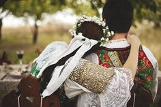 Slovak traditional wedding in fall Traditional Fashion, Traditional Wedding, Traditional Outfits, Folk Costume, Costumes, Millinery Hats, Folk Dance, Beltane, First Communion
