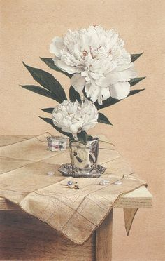 Ingle - Still Life with Peonies and Buttons, 1986
