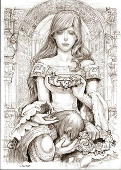 Lyanna Stark by Dubu Gomdori.  The crown she holds has the Baratheon stag and the Targaryen dragon fighting over her breaking heart in the middle. Her sleeves display the Stark direwolves. Behind is the passage leading into the Stark crypt. Eddard Stark kneels grieving for his lost sister clutching the wreath of blue winter roses. #ASOIAF #GoT #HouseStark