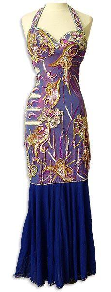 Iridescent Purple Egyptian Dress with Multi Color Bead Work & Dark Purple Chiffon bottom, Handmade in Egypt.