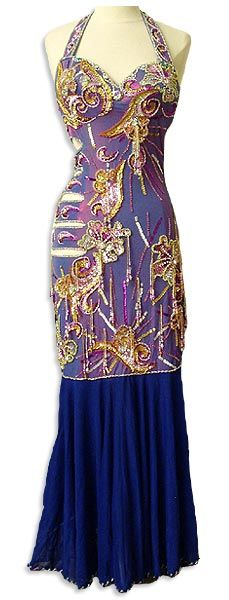 Iridescent Purple Egyptian Dress with Multi Color Bead Work & Dark Purple Chiffon bottom, Handmade in Egypt.