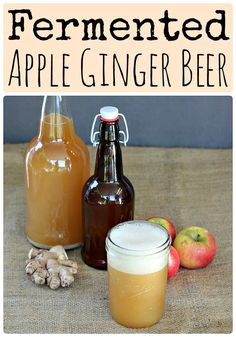When apples are in season make this naturally fermented apple ginger beer. It's made with a ginger bug and is super fizzy and tasty!