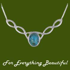 Celtic Knotwork Turquoise Design Stylish Pewter Necklace