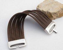 Pulsera de brazalete de cuero de la mujer con broche grande mate de plata, pulsera de brazalete de cuero de diseño
