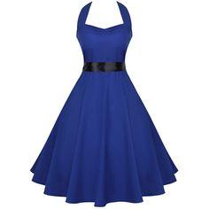Halter Backless Belt Skater Dress (125 RON) ❤ liked on Polyvore featuring dresses, halter-neck dress, blue halter top, cotton skater dress, halter tops and blue dresses