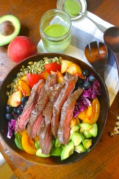 paleo summer steak salad with green goddess dressing Asian Marinated Flank SteakAdapted from Simply Recipes1 pound of flank steak3 Tbsp olive oil1 clove garlic, minced1 tsp fresh grated ginger1 Tbsp red wine vinegar3 Tbsp coconut aminos (or soy sauce if you aren't paleo)2 Tbsp honey1/2 teaspoon freshly ground black pepper