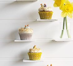 Try saying no to these little sponges with frosting and clever bird decoration made with chocolate eggs