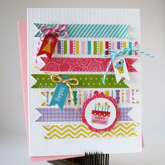 Washi tape card idea @Heather Creswell Parry cute use of Washi for your next card exchange.