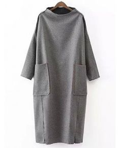 In a different color of course. Dropped Shoulder Seam Slit Loose Dress With PocketsFor Women-romwe Hijab Fashion, Boho Fashion, Womens Fashion, Street Fashion, Trendy Fashion, Fashion Trends, Linen Dresses, Casual Dresses, High Neckline Dress