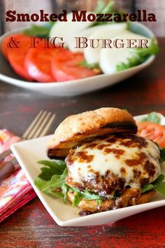 Smoked Mozzarella and Fig Bison Burger for #BurgerMonth |ShesCookin.com