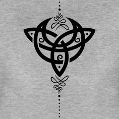 moon, crescent moon with Trinity symbol. - Women's Premium T-ShirtCeltic moon, crescent moon with Trinity symbol. - Women's Premium T-Shirt Small Celtic Tattoos, Celtic Cross Tattoos, Cross Tattoos For Women, Small Tattoos, Celtic Tattoo For Women Irish, Celtic Tribal, Celtic Knot Tattoo, Celtic Knots, Scottish Tattoos