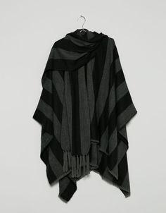 striped cape with fringe detail - Coats - Bershka Croatia