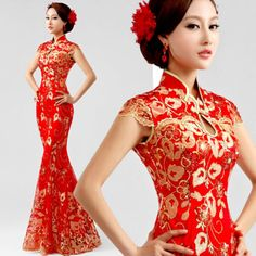 New Cheongsam Evening Prom Party Wedding Mermaid Dress Ball Gown Embroidery . Asian Prom Dress, Asian Wedding Dress, Cheongsam Wedding, Cheongsam Dress, Ball Dresses, Ball Gowns, Evening Dresses, Oriental Dress, Bridesmaid Dresses