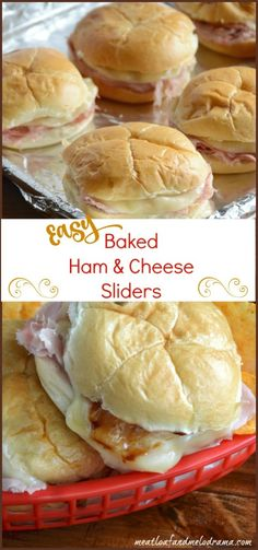 Easy baked ham and cheese sliders are made with deli ham and provolone cheese and topped with tangy barbecue sauce. They're perfect for a quick dinner or lunch or Super Bowl / game day snack! day snacks, Baked Ham and Cheese Sliders with Barbecue Sauce Ham Cheese Sliders, Ham And Cheese, Provolone Cheese, Baked Cheese, Cheese Food, Cheese Buns, Cheese Snacks, I Love Food, Good Food