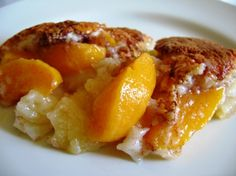 Perfect Peach Cobbler. 1 can peaches (1 large jar peaches remove most of the syrup), 1 Cup self rising flour, 1 Cup granulated sugar, 1 Cup milk, 3/4 Cup butter. Melt butter in 9x13 mix sugar flour and milk in bowl pour over butter, do not stir. Place peaches evenly over batter, do not stir. Sprinkle with cinnamon sugar. Bake 350° 40 min or until brown. YUM! Serve with butter almond ice cream :)