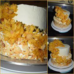 pastel de tres leches con flores de piña seca