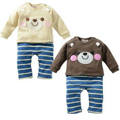 nova 2014 primavera roupa do bebê bonito urso bodysuits bebê manga longa geral unissex menina e menino recém-nascido traje desgaste do bebê