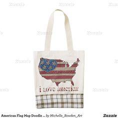 American Flag Map Doodle Art Zazzle HEART Tote Bag
