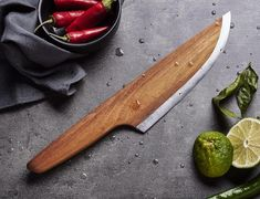 To be more exact, this knife is made from 97% Robinia wood and 3% high alloyed carbon steel.