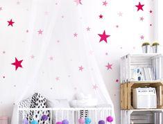 Pinke Wandsticker Sterne für Mädchen - 50 Stück