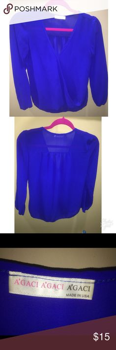 Blue long sleeve Agaci shirt Sheer but not too see through. Very light and comfortable. Only worn twice. Can easily dress up or dress down. agaci Tops Blouses