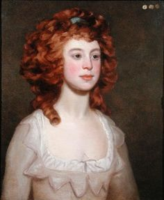Portrait of a Young Woman by Philip Reinagle. Apparently either the artist or the young woman loved the color of her glorious red locks so much that she chose not to powder her hair