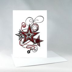 Stars Card Christmas Card Star Card Holiday Card by KateKreatesArt